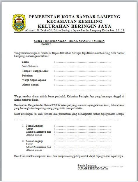 surat keterangan contoh surat indonesia