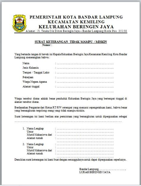 Pengertian Surat Permintaan Perjalanan Dinas by Contoh Surat Keterangan Tidak Mu Dari Kelurahan
