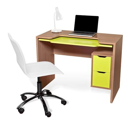 segovia sapele and lime green computer desk segovia