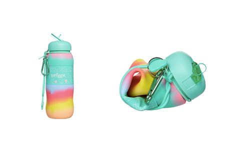 Smiggle Blended Silicone Roll Bottle pink sky limited water bottles