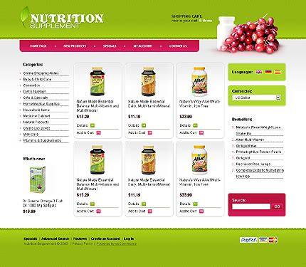 ecommerce website templates for asp net template 22804 nutrition store oscommerce template