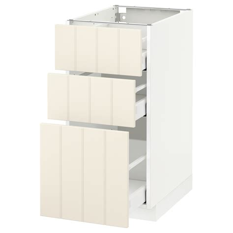 ikea off white kitchen cabinets metod maximera base cabinet with 3 drawers white hittarp