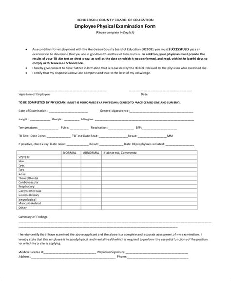 Sle Physical Examination Form 11 Free Documents In Word Pdf Physical Form For Work Template