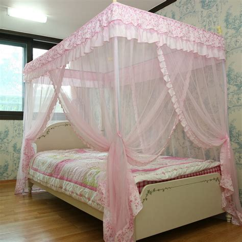 Single Bed Canopy Pink Luxury 4 Post Lace Bed Canopy Set Mosquito Net 125x205 Single Si