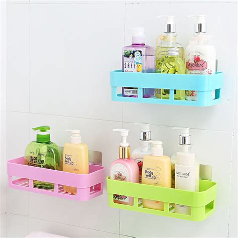 adhesive bathroom shelf self adhesive kitchen storage box organizer toilet