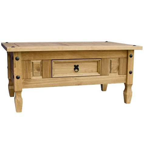 Corona Coffee Table 1 Drawer Mexican Solid Waxed Pine Corona Coffee Table With Drawer