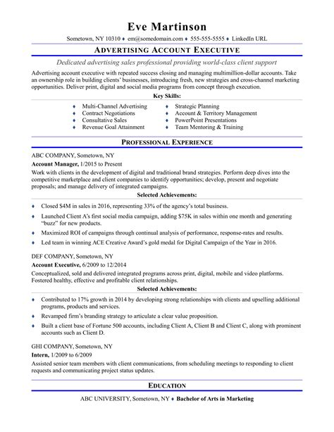 Service Letter For Accounts Executive Sle Resume For An Advertising Account Executive