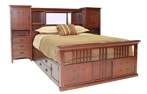captains bed king san mateo oak mid wall queen bed with pedestal beds