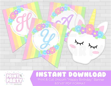 Printable Unicorn Birthday Banner | printable unicorn happy birthday banner unicorn birthday
