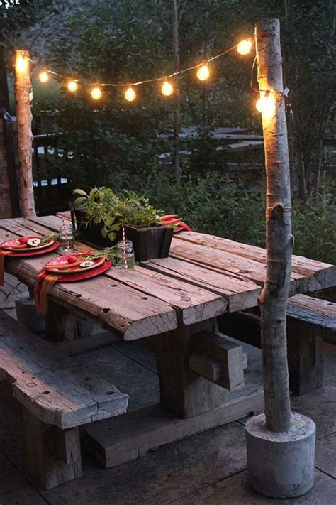 Outdoor String Light Pole String Lights Lights And Diy And Crafts On