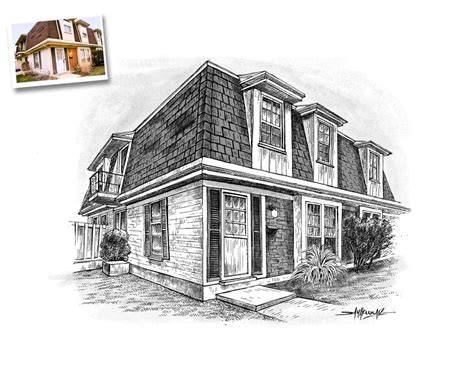house sketch pen and ink art from photo art gallery exles