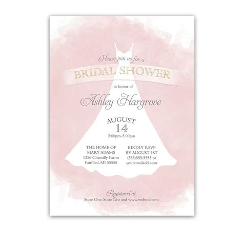 Honeymoon Shower Invitations by Bridal Shower Invitations Blush Gold Wedding Dress Watercolor
