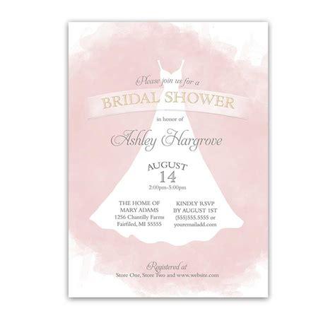 wedding gown bridal shower invitations bridal shower invitations blush gold wedding dress watercolor