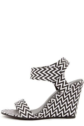 wedge sandals chevron shoes black and white shoes