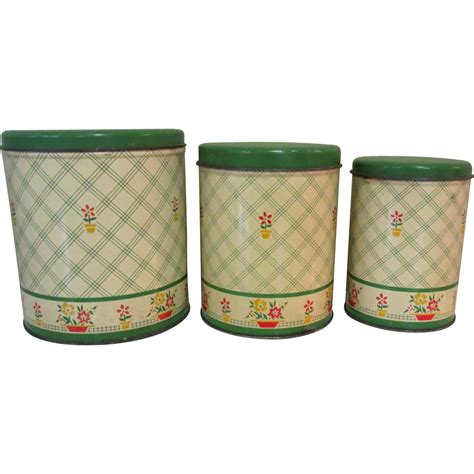 Green Deco Canister tin canister set vintage deco jadite green floral from