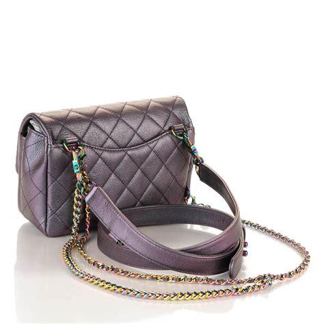 Waist Carrier Purple chanel iridescent goatskin quilted small carry waist chain flap purple 172837