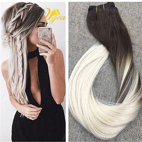 platinum and carmel hair extensions ombre platinum blonde 60 balayage remy clip in human hair