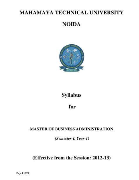 Principles Of Management Syllabus For Mba by M B A Ist Year Syllabus