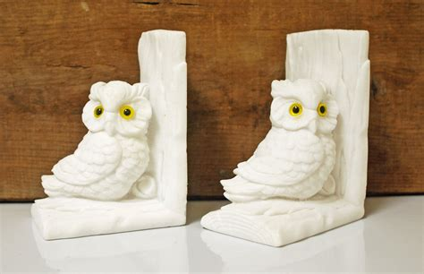 owl bookends vintage italian white marble owl bookends
