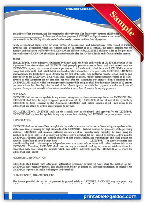 Free Printable Trademark License Agreement Form Generic Trademark License Agreement Template