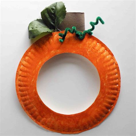 Paper Pumpkin Crafts - be brave keep going pumpkin paper plate craft for