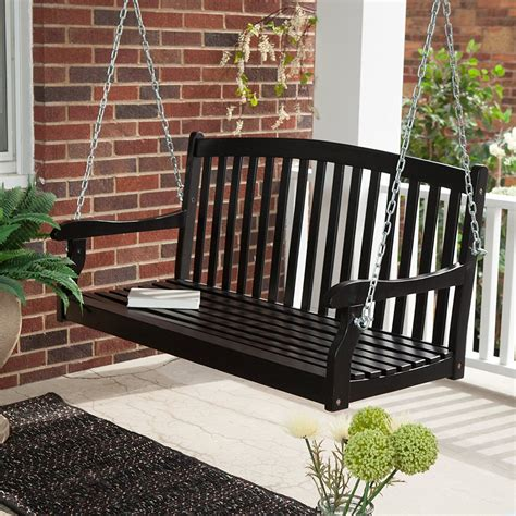 porch swing black decor traditional black wooden wicker porch swing