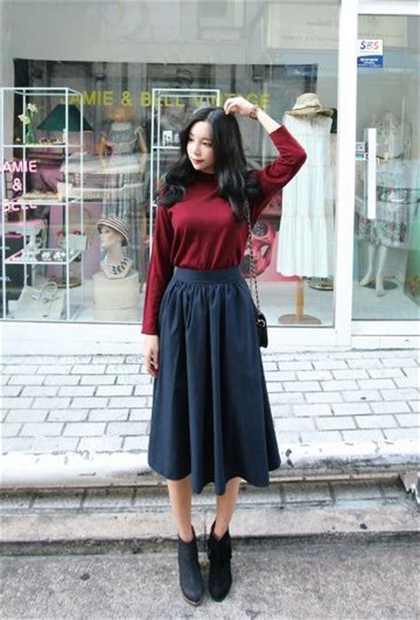Midi Dress Skirt Dress Korea Fashion Wanita Blouse Kemeja Jepang shunichell skirt korean fashion style clothes korean fashion korean