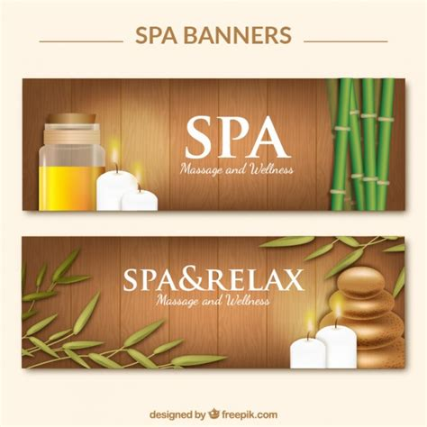 design banner spa wooden spa banners vector free download
