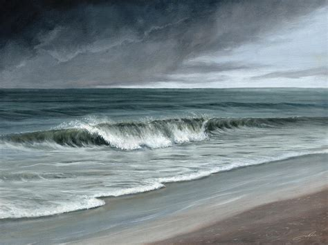 Paintings For Home Decor Stormy Beach Painting By Dale Jackson