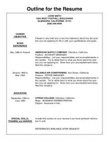 resume outline templates resume exle resume outline worksheet templates make a