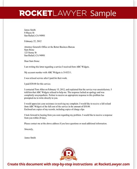 Complaint Letter Sle For Not Responding Complaint Letter To A Bbb Or Attorney General