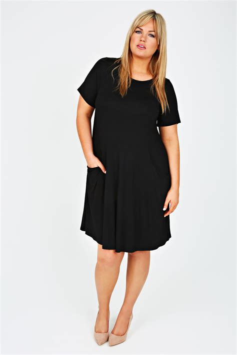 swing dress with pockets black swing dress with draped pockets plus size 14 16 18