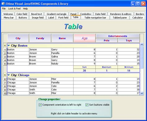 swing components in java with exle java swing table