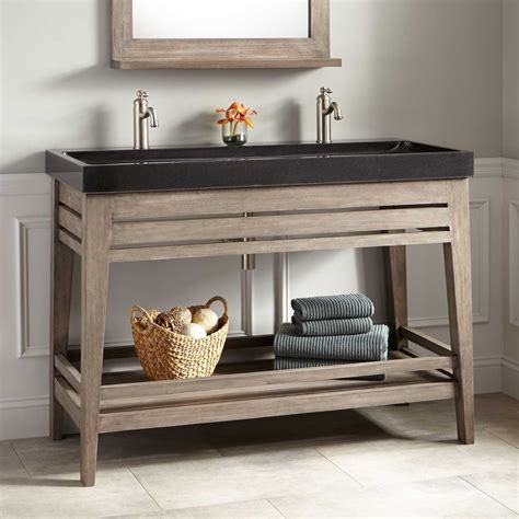 trough bathroom vanity 48 quot aurelia vanity with black granite trough sink gray