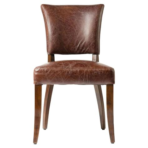 Modern Leather Dining Chair Melba Modern Classic Brown Leather Dining Chair Pair Kathy Kuo Home