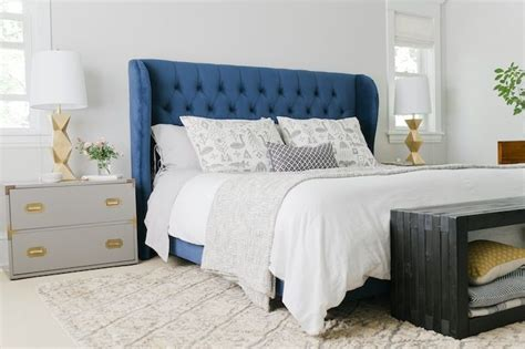 blue tufted bed navy blue headboard bedroom interior bedroom