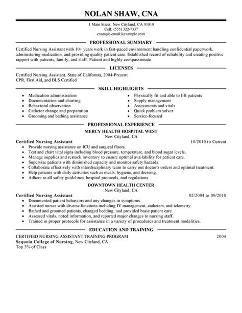 Unforgettable Nursing Aide and Assistant Resume Examples