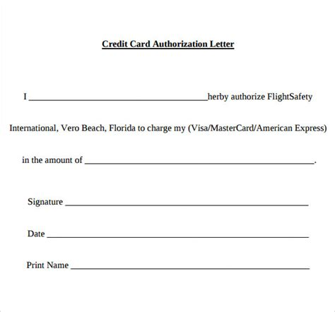 authorization letter to use a credit card sle credit card authorization letter 9 free