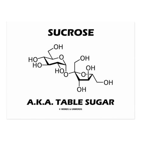 sucrose a k a table sugar chemical molecule postcard