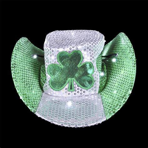 light up cowboy hat irish st patrick s day light up led sequin cowboy hat
