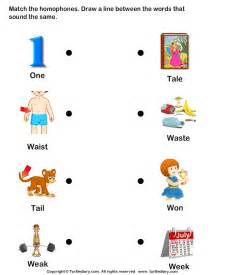 read and match homophones worksheet turtle diary