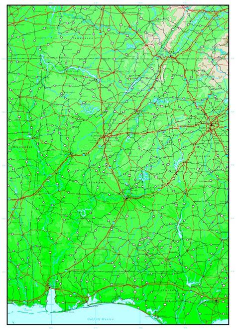 us map alabama alabama elevation map