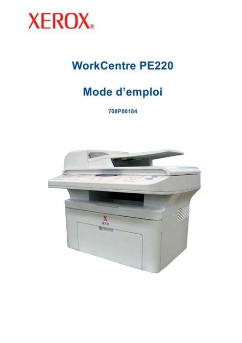 Xerox Cp235w Cover By M notice xerox workcentre pe220 imprimante multifonction