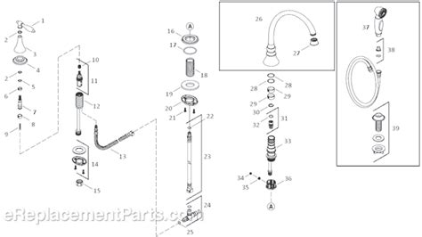 kohler kitchen faucet parts diagram kohler k 377 4m parts list and diagram ereplacementparts