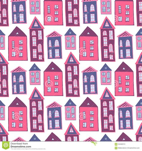 seamless pattern houses houses seamless pattern sweet pink girlish stock vector