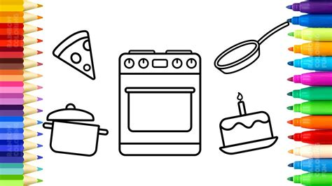 toy kitchen coloring page baby kitchen toys coloring pages drawing cake pan
