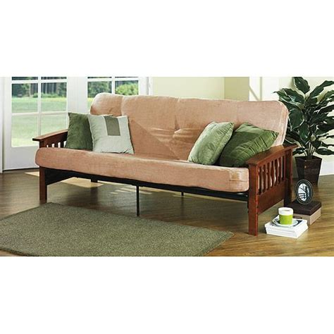 mainstays wood arm futon mainstays mission wood arm futon heirloom cherry bed