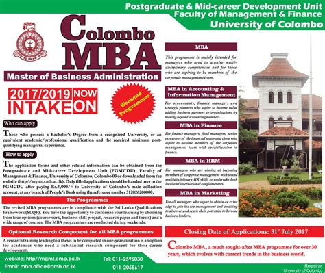 Mid Career Mba by Master Of Business Administration Weekend Programme