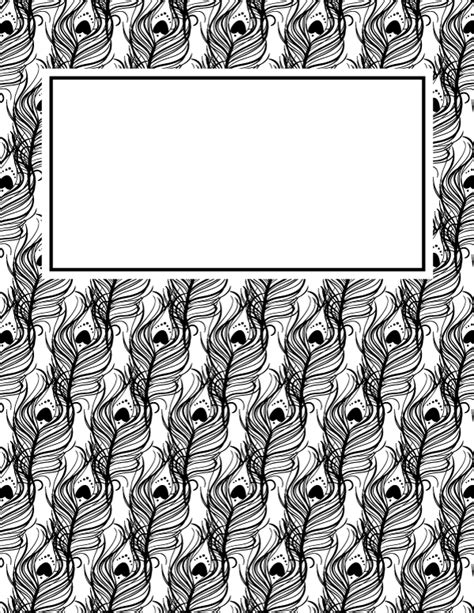 black and white binder cover templates free printable black and white peacock feather binder