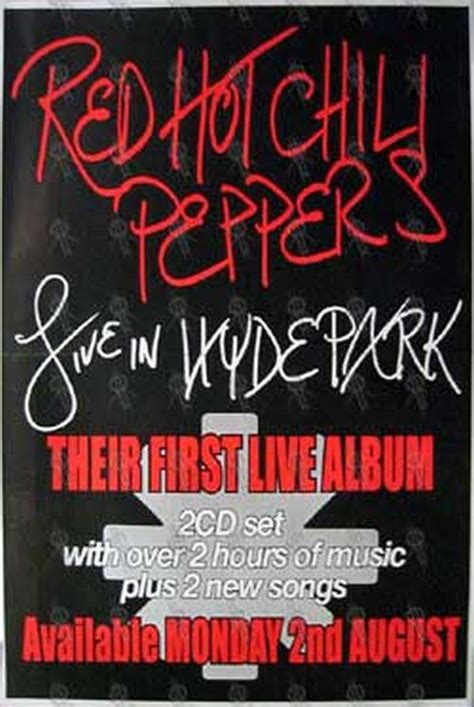 red hot chili peppers in color poster home decor gift by red hot chili peppers live in hyde park album poster